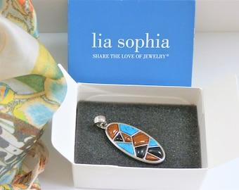 Lia Sophia Pendant Turquoise,Onyx,Tiger's Eye Silver Pendant,Vintage modern silver oval mosaic,w/ box,never been worn,retired,Vintage w/box