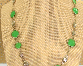 Green glass Necklace,Faceted green glass medallions,Gold station necklace,Chain green glass necklace,green glass connector,Green glass charm