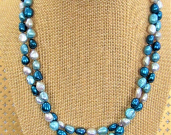 Blue Pearl necklace,Tri-color pearls,Honora pearl Necklace,34 inches, 8 mm pearls,Sterling Clasp,Hand knotted pearls, Aqua Pearls,Honora