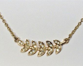 Crystal Gold Leaf,Gold Chain,East West Pendant,Plant leaf Connector,Tropical Crystal,Palm Frond,Gold Cable Chain,Sparkling Crystals,Leaves