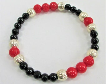 Red Black Agate Stretch Bracelets, Silver beads, one of a kind each,Jewelers black stretch,Large red one has silver magnet closure,Unisex
