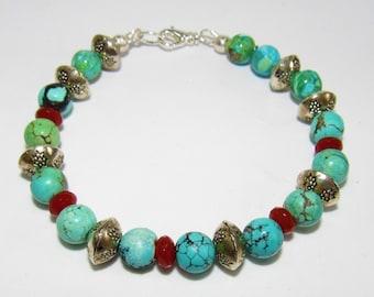 Turquoise Carnelian Sterling Bracelet,Turquoise Bracelet, Carved Carnelian bead,Sterling Silver Bead,Silver Bracelet,Sterling Clasp,8.5 inch