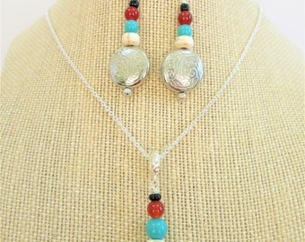 """Southwestern Earrings or Necklace silver,turquoise carnelian onyx silver etched round pillow beads,Silver Earring Fish Hooks/18"""" Neck-chain"""