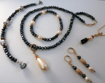 "Gray Ice Collection - Charcoal Crystals 18 inch necklace, with 2 inch pearl pendant, gold, 1.25"" cream pearl teardrop, gold lobster claw"