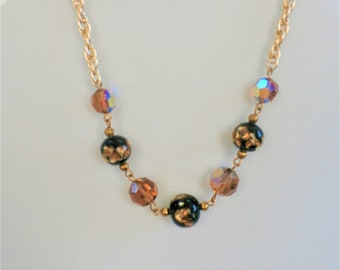 Black/Gold foiled Lampwork Necklace- Vintage chained and faceted aurora crystal, lamp-work beads, other pieces available separately