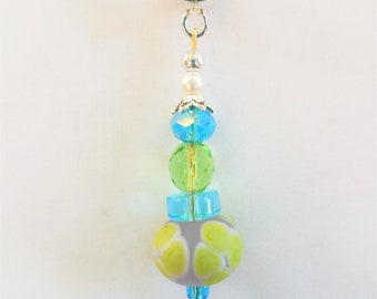 "Lamp-work glass floral bead Pendant,Blue Lamp work bead,Czech beads faceted crystal necklace,w/silver spacers,Green glass bead,18"" 925 chain"