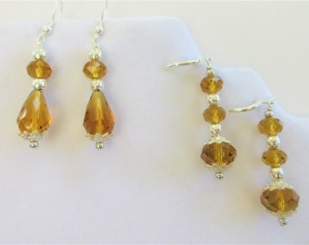 Amber Cut Crystal and Silver Earrings, Fancy Handmade glass & silver ball dangle earrings,2 designs available, lever back or fish hook,light