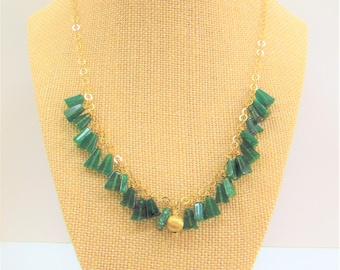Aventurine Triangle Charm 14K Gold Chain Necklace, 20 inches of Green gemstones w/gold ring chain,half inch 14K Gold brushed dangle Focal