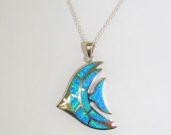 Sterling Silver,Opal Angelfish,Rhodium-plated,Blue Opal Angelfish,Vintage Pendant,Zircon stone,18-inch .925 Chain,Australian Opal,Excellent