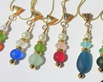 """Frosted Sea Glass & pearl pendants, beads w/ 14K gold gorgeous gold spacers, bail w/18"""" snake chain, individually made, different colors"""