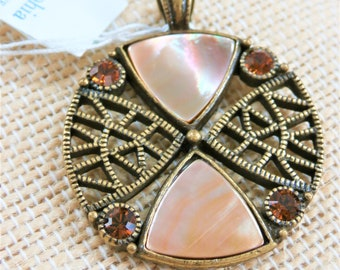 Lia Sophia Bronze shell crystal Pendant,Vintage medallion,inlaid abalone shell,4 cognac crystals,never worn,complete w/tag box, no chain