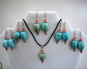 Turquoise Ginger Jar Earrings - 20mm Genuine Turquoise Beads w/silver,small coral beads, 1 set green earrings/pendant available