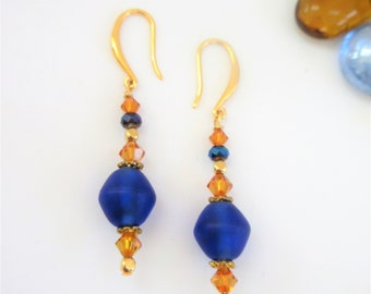 Blue Seaglass bead Earrings,14k gold Gold beads and ear wires,Blue and gold bi-cone Crystals, spacers gold ball beads, Handcrafted,Original
