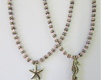 Starfish Seahorse Pink Necklace,600 total tiny Crystals,SS Starfish Seahorse charm Necklace,100 pink glass beads,Pink crystal necklace,925