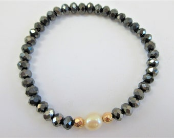 Faceted Hematite Crystal Bracelet, Pearl and 14k gold bead stretch , Designer 7 mm charcoal beads with 11 mm pearl and gold beads bracelet