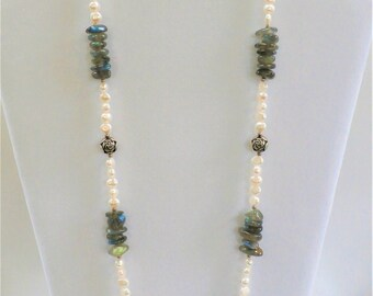 "Honora Pearl Necklace,24"" cultured Pearl,Labradorite necklace. Sterling rose bead accents. Excellent quality, smooth as silk.Highly polished"
