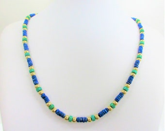 Lapis lazuli,Turquoise,14K Gold Bead Necklace,22 inch Perfect Strand Gemstone,Egyptian style, Lapis heishi, Antique GoldBeads, Turquoise