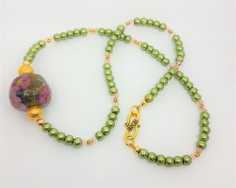 Beaded Necklace,Crystal Flower Bead Ball,  #4 Handcrafted Lamp work bead, Moss green glass pearls,pink crystals, 14k gold beads, hook clasp