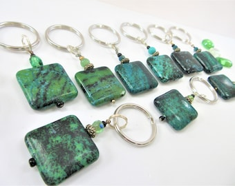 Turquoise Stone Key-chain, Stone Keyring 1/2 inch Split Ring.Green/Black Square stone Keychain, Hand crafted beads,Aqua/Black stone keychain