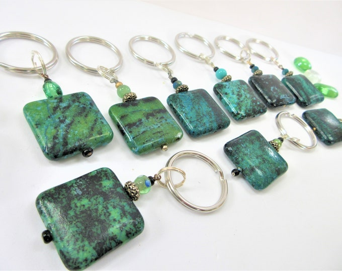 Featured listing image: Turquoise Stone Key-chain, Stone Keyring 1/2 inch Split Ring.Green/Black Square stone Keychain, Hand crafted beads,Aqua/Black stone keychain