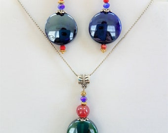 "Blue Green glass Pendant Earrings set , Got the Blues with silver/gold, red , blue accents, silver, gold fish hook - 18"" silver chain"