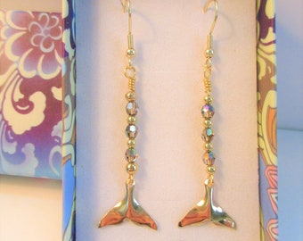 14K Gold Whales Tail Charm Earrings,Swarovski Green Aurora Borealis Crystals,14K Gold beads, Gold Plate steel ear wires,Handcrafted Jewelry