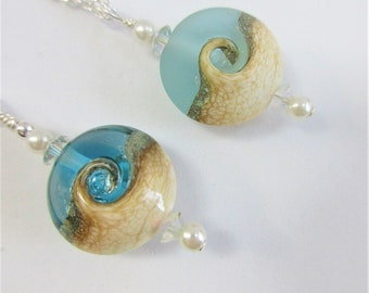 "Ocean Wave Bead Pendant,Choice Clear Blue  or Frost Teal Glass,Sandy Beach Wave,2 Pearls,2  Faceted Crystals,Choice 18 or 20"" Sterling Chain"