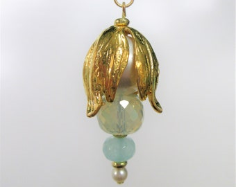 "Sea glass PENDANT - Lantern, Large pearl,with 2 sea-glass faceted beads,pearl,gold wrapped/gold plate ring w/18"" gold filled chain"