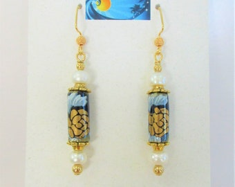 Asian Porcelain & Pearl bead Earrings,Gold/Navy Floral Applied Enamel,4 genuine snow white pearls,w/matching gold hardware floral caps/wires