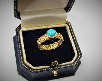 14K Gold Byzantine,Turquoise Ring,Gemstone Ring,Sleeping Beauty Turquoise,Round Cabachon,Size 8,14K Gold,Vintage Turkish,Gorgeous Gold