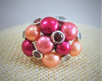 Peach Apricot Raspberry Honora Pearl Ring,Cluster of cabochon pearls, set garnets/white topaz,.925 Silver dome shaped ring,Size 7,Like New