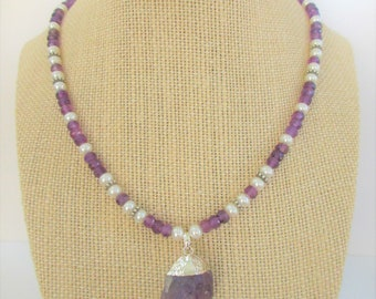 Genuine Amethyst Pearl Necklace,19.5 inches,60 Hand Faceted gemstones,removable natural Amethyst pendant,Sterling silver spacers,ext. chain
