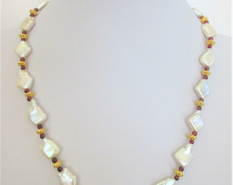"White Baroque Pearl Garnets 14K Gold Necklace,Renaissance opulent 21"" NK,Genuine Pearls Red Garnet beads,14K gold Flower toggle,solid beads"