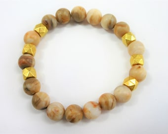 Unisex Beaded Stretch Bracelet, 7.5 inch fitted, 8 mm Faux marbleized acrylic tan and brown agates, with 6 gold faceted accent beads,