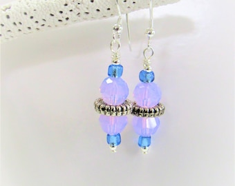 Swarovski Crystal Earrings,Purple Faceted, Light Lilac Crystal, Lavender Earrings,Silver Ring,Faceted Bead,Tanzanite Glass,Silver Earhooks