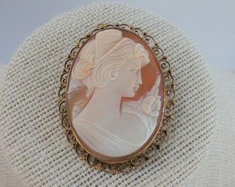 "Vintage Cameo, 2"" Italian carved shell framed in gold pin and bail for chain,beautiful woman's likeness,pretty colors, mid century, labeled"