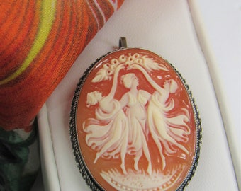 Sterling 3 Graces Cameo,Pin & Pendant,signed,Italian, Oval Cameo,Sterling Braid, Vintage,silver framed,Oval Brooch,hand carved,Italian