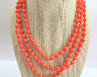 "Coral glazed porcelain bead 54"" necklace, Vintage long coral adjustable bead strand, 8mm w/small coral beads,new gold lobster claw, torsade"