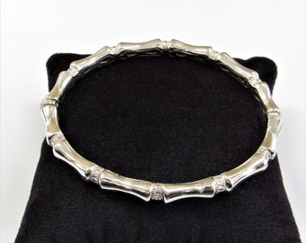 Sterling silver,bamboo bangle, bracelet,vintage clip-on,sparkle cut stations,push release,hinge,comfortable,very good condition and quality