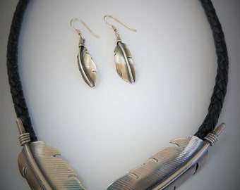 "Necklace Earrings Pin Set, Sterling Silver Feather and Leather 18"" Necklace , Pin, Earrings signed by silversmith, 1.75 "" pin, and earrings"