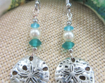 Silver sand dollar & sea glass bead earrings,8 mm silver plated 2 sided sea dollars, finished on the back,w/sea glass and pearl beads