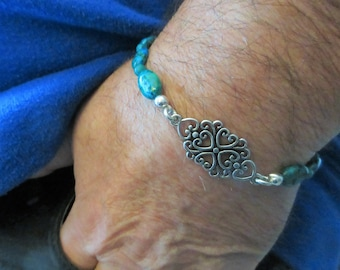 "Unisex Beaded Stretch Bracelet, 9.5 inch fitted, 5 mm turquoise stone beads, with 2 "" silver filigree attached tag, one of a kind"