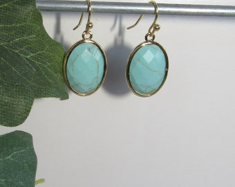 Turquoise Earrings,Gold Beveled Oval,Faceted Turquoise stones,14K gold plate,Gold earwires,lightweight,Light turquoise,sparkling facets,cute