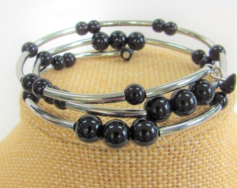 Onyx Bead,Wrap Bracelet,Onyx Silver Bracelet,Silver Plate Bracelet,Onyx Wrap Bracelet,Genuine Onyx Beads,Black Onyx Bracelet,Bead Bracelet