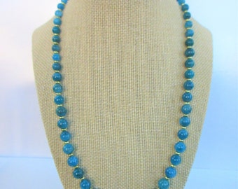 """21"""" Neon Blue Apatite Necklace,14K Gold Plated beads & clasp,Gorgeous Variegated aqua color ball bead, superior high polish gemstone beads"""