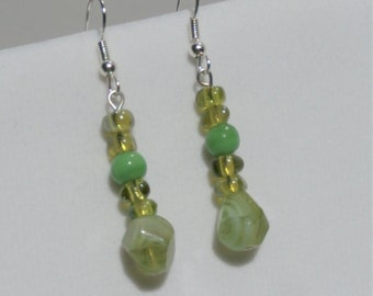 "Mermaid Earrings,Green ""sea-glass earrings"" , all glass green bead earrings w/silver fish hook. Matching necklace/earring set also available"