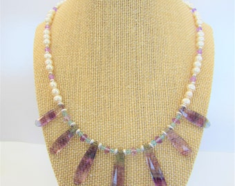 """Blue Purple Fluorite 7 Long Briolette Beads, Pearls Silver Faceted Aquamarine beads make this 19.5"""" necklace one of a kind, Full Gemstones"""