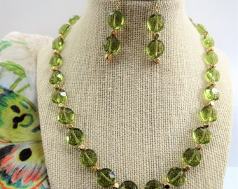 Olive Green Crystal Bead Necklace, 18.5 inch,&Earring Set,Handcrafted vintage puff disc beads, with 14K Gold soft cube beads,ear wires,clasp