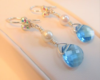 Blue Swarovski and Pearl Earrings,Sterling Silver Green Aurora Borealis Crystal Earwire,Handwired Jewelry,10 mm teardrop faceted,5 mm Pearl