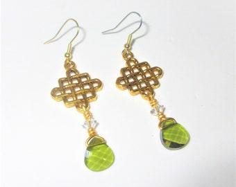 Celtic Earrings,Gold Celtic Knot,Celtic Knot,Swarovski Teardrop,Swarovski Earrings,Swarovski Crystals beads,